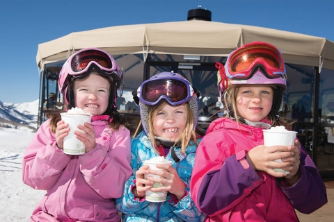 Young skiers enjoying a snack at Crested Butte.