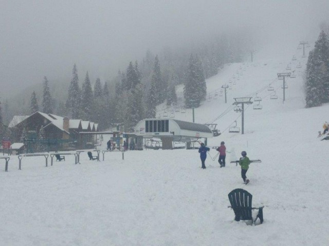 The view from the base area at Purgatory Resort where 17 inches of snow fell.